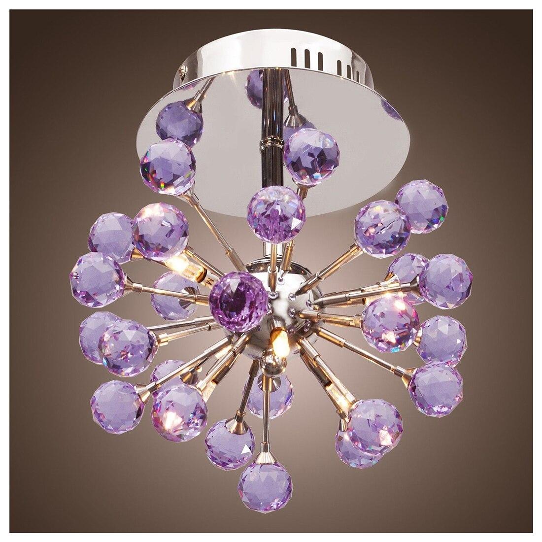 Practical-Elegant Flush Mount Crystal Chandelier Ceiling Pendant Lamp Fixture light Purple