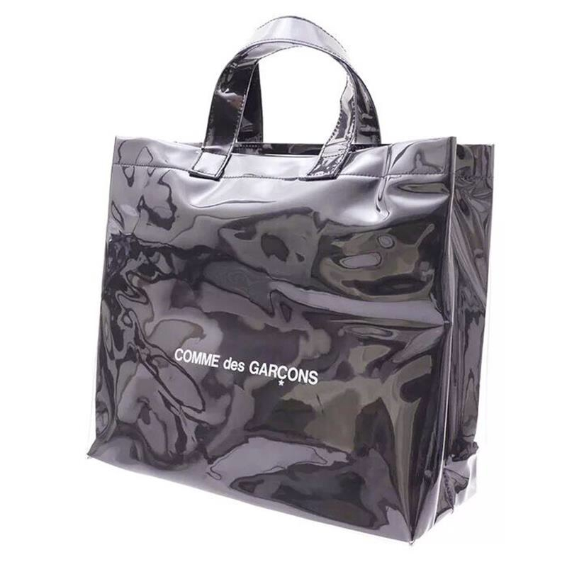 New high quality PVC transparent plastic large capacity handbag Transparent waterproof black kraft paper travel shopping bag