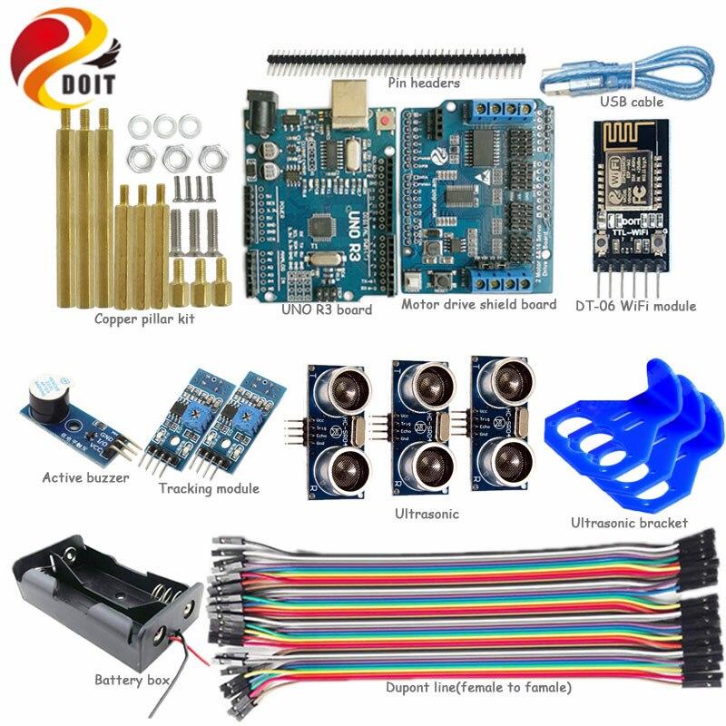 Officiel DOIT WiFi contrôle 2 voies suivi 3 voies ultrasons évitement d'obstacles kit de voiture intelligente pour Arduino