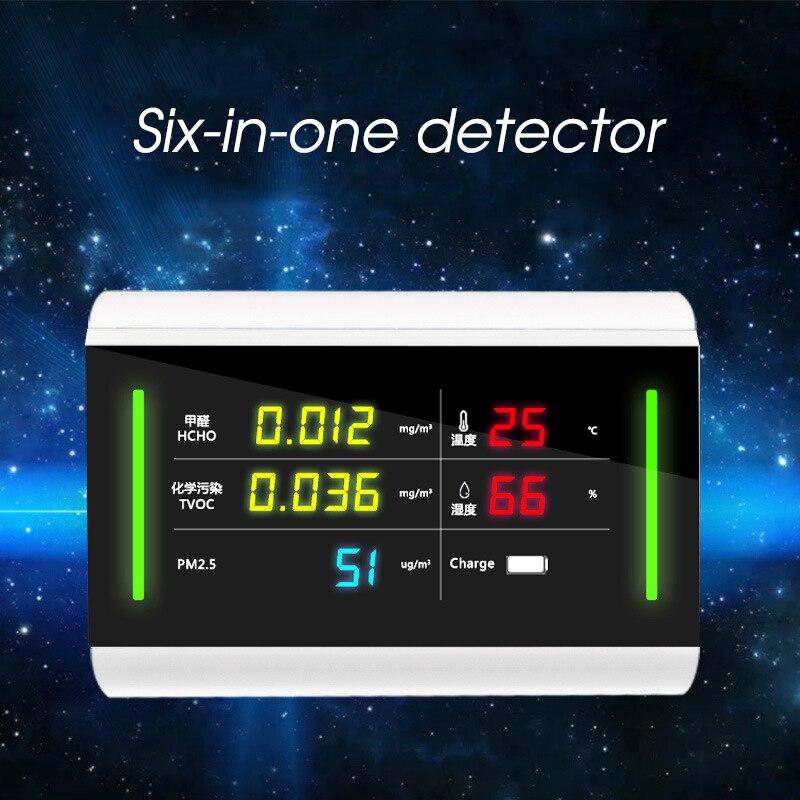 Formaldeide HCHO PM2.5 TVOC Monitor Termometro Igrometro Analizzatore di Gas Rilevatore di Aria di Qualità Monitor Tester di Umidità di Temperatura