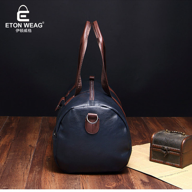 ETONWEAG Brands Cow Leather Duffle Bag Black Zipper Vintage Travel Bags Hand Luggage Big Capacity Organizer Men Traveling Bag 4