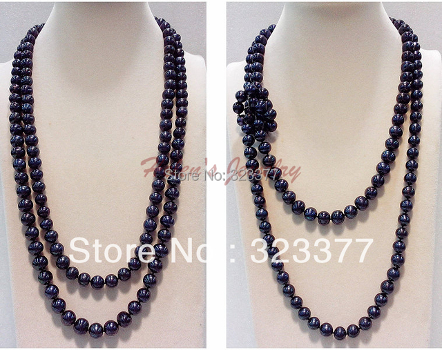 125cm Long 9-10mm Nearround Shiny Black Freshwater Pearl Sweater Necklace.