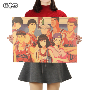 TIE LER SLAM DUNK Wall Sticker Basketball Anime Movie Hanamichi Sakuragi Poster Rukawa Kaede Kraft Paper Decorative Paintings(China)