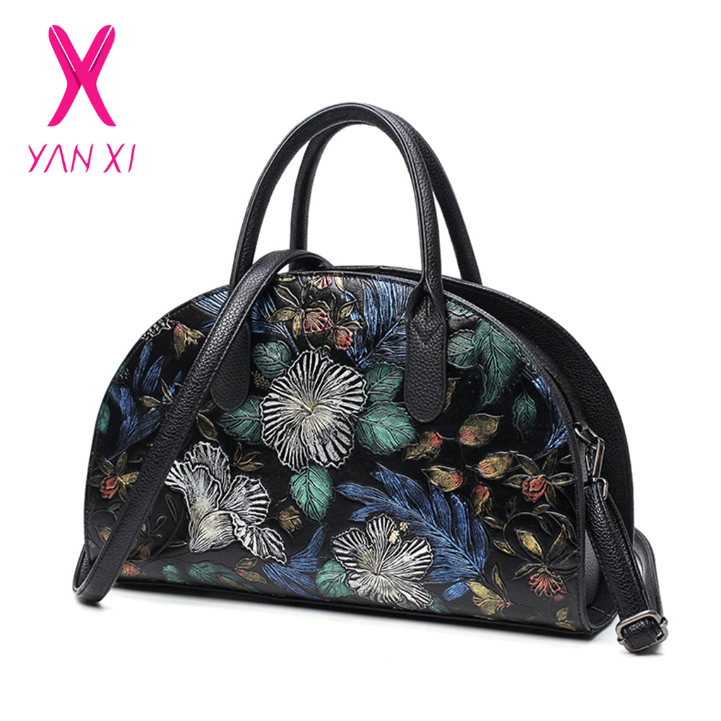 YANXI 2018 NEW Floral Bags for Women PU Luxury Handbags Women Bags Designer Handbags High Quality Casual Tote Chinese Style