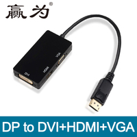3 In 1 Male DP To Female HDMI DVI VGA Adapter HUB Converter Cable 1080p For