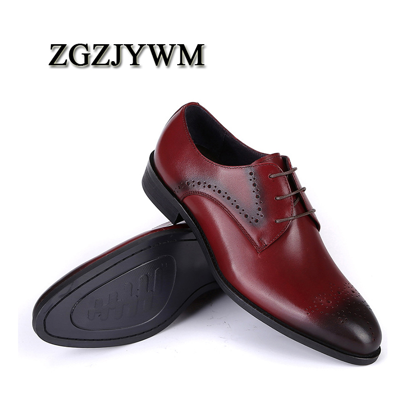 ZGZJYWM High Quality Genuine Leather Carved Lace-Up Pointed Toe Red Black  Wedding Men d520bb11ccca