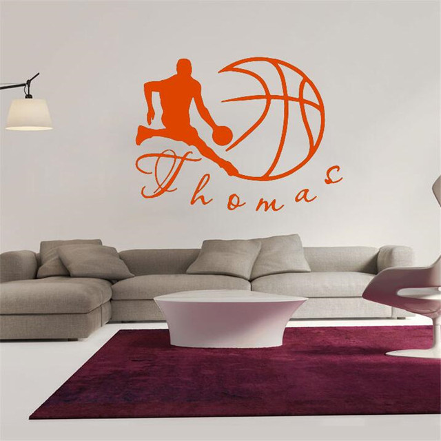 Idfiaf vinyl wall decals sport basketball ball monogram boy personalize name home decor wall stickers free