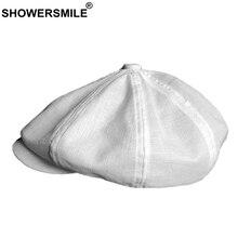 SHOWERSMILE Мужская газетная Кепка s белый льняной берет Мужская дышащая одноцветная восьмиугольная шляпа летняя тонкая Высококачественная Кепка Ivy Gatsby