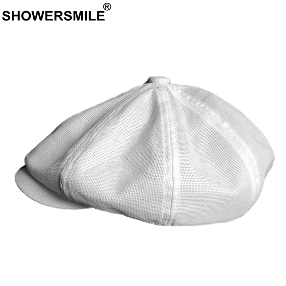 SHOWERSMILE Mens Newsboy Caps White Linen Beret Hat Male Breathable Solid Octagonal Hat Summer Thin High Quality Ivy Gatsby Cap
