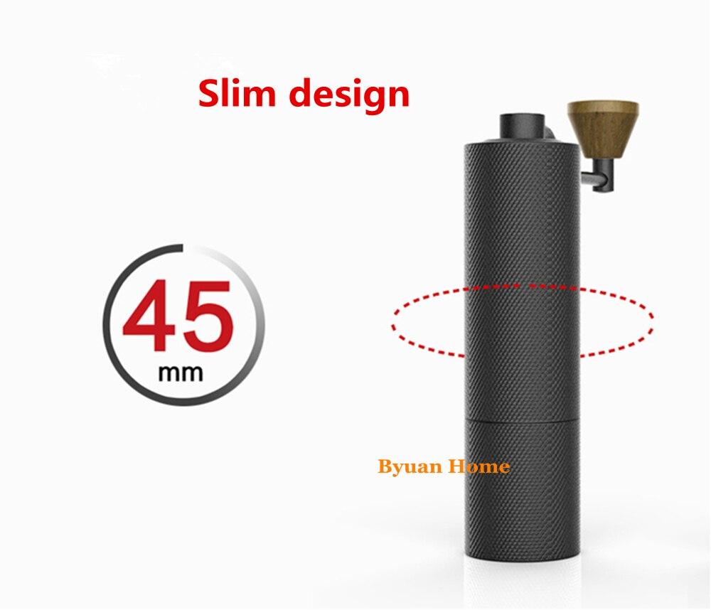 MYM51 Goud/Zwart Slim Aluminium draagbare staal slijpen core Hoge kwaliteit handvat ontwerp super handleiding koffiemolen Dulex lager-in Molens van Huis & Tuin op  Groep 1