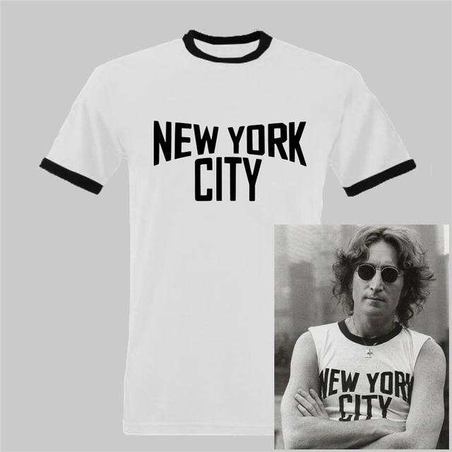 John Lennon Ringer Black and White New York City T shirt Men casual gift tee  USA Size S-3XL cc7727e1328f