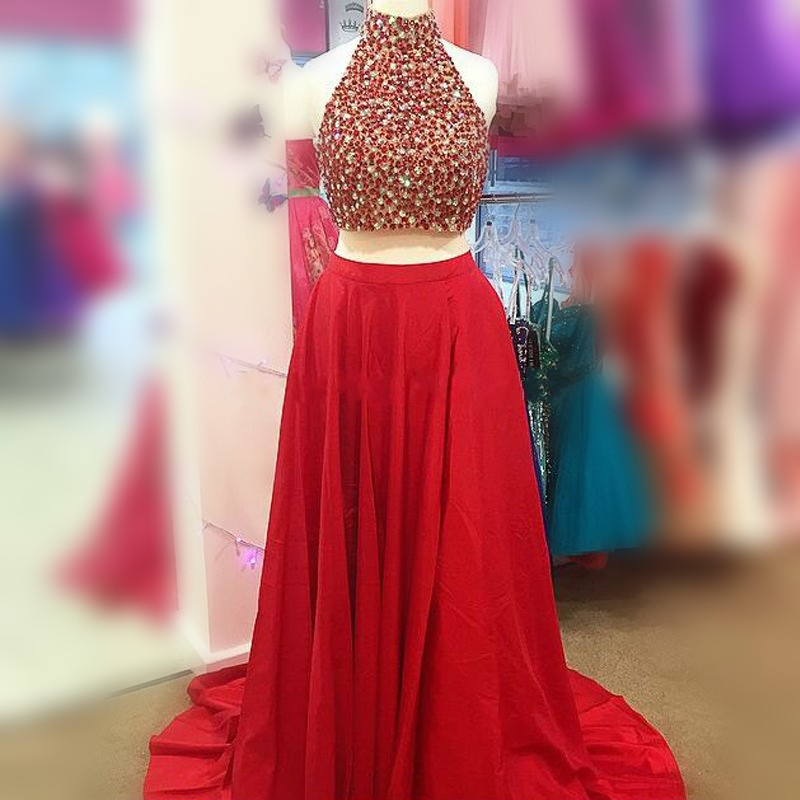 573636345 Red Two Piece Prom Dresses 2016 Vestidos Cortos De Gala High Neck Beaded  Rhinestones Women Formal Evening Party Gowns-in Prom Dresses from Weddings    Events ...