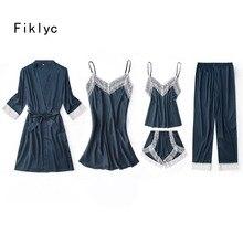 Fiklyc unterwäsche fünf stück frauen pyjamas sets luxus elegante spitze & seide patchwork femme pijamas für frau mujer nachtwäsche