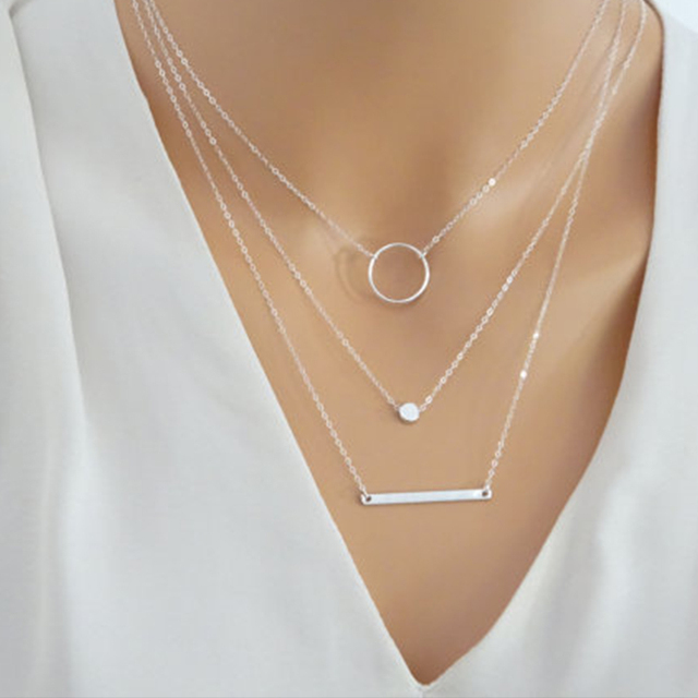 Silver Layered Necklace Set Silver Bar Necklace Jewelry For Women