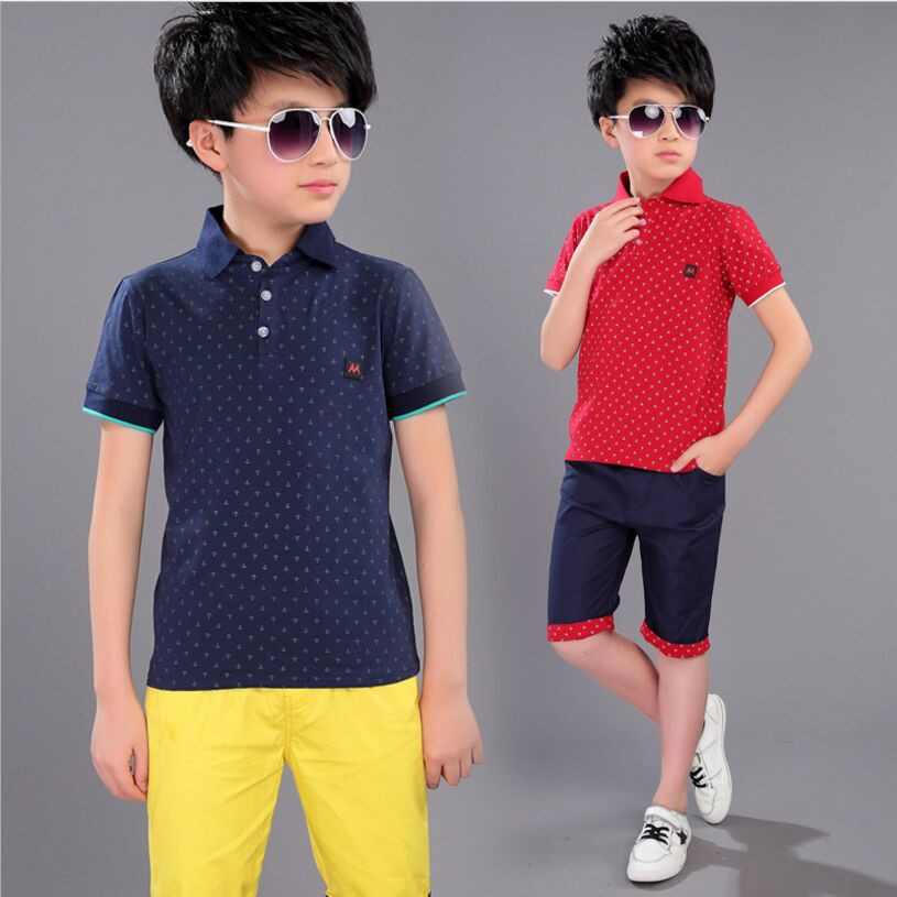 2018 New Summer Children Clothing Boys Set Cotton Polka Dot Short-Sleeved + Shorts Clothes Boy Kids Boy Clothes 2 Piece