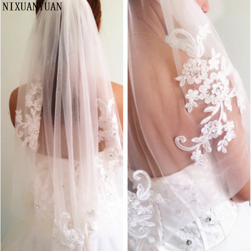 NIXUANYUAN In Stock Short One Layer Waist Length Beaded Diamond Appliqued White Or Ivory Wedding Veil Bridal Veils