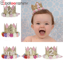 BalleenShiny Baby Rose Flower Crown Headband Färgglada Lovely Children Kids Födelsedag Gåva Hair Band Photo Prop Hår Tillbehör