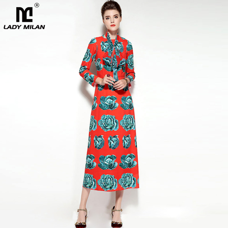 New Arrival Womens O Neck Long Sleeves Floral Printed Designer Mid Calf Fashion Dresses with Scarf