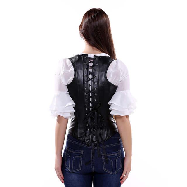677728861 placeholder Sapubonva Gothic Steampunk PU faux Leather Cupless Underbust  Corset Vest Top Bustiers Plus Size Corselet Black