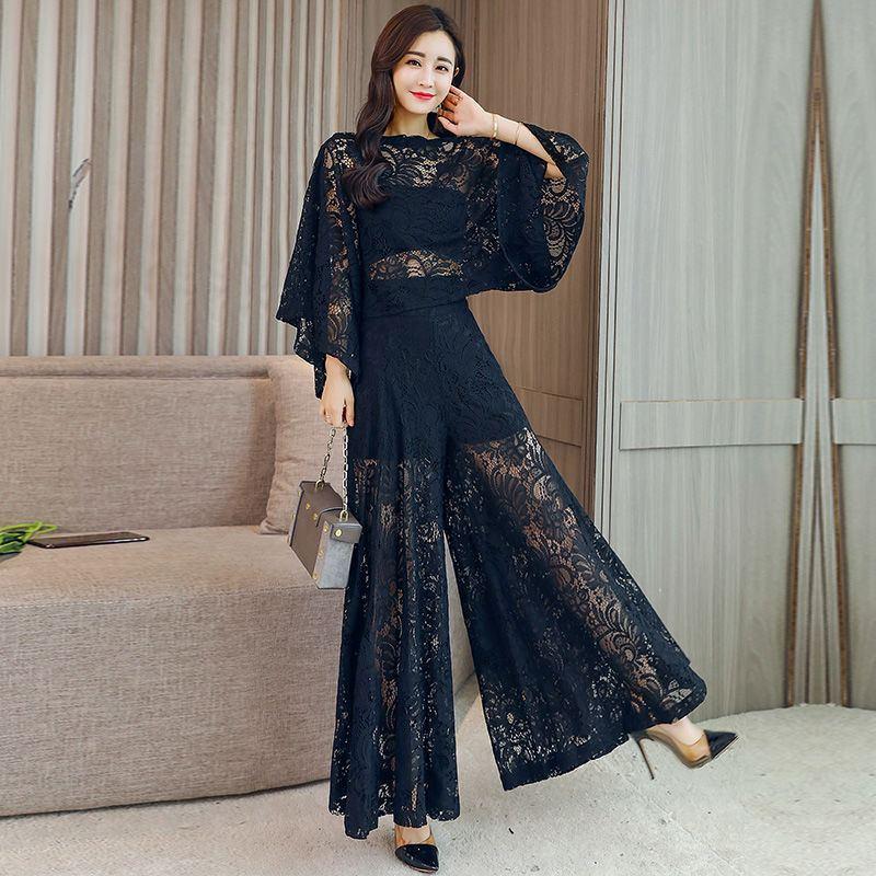 2019 Summer Women Vintage Hollow Out Lace Sets Female Elegant Batwing Sleeve Solid Shirt+Elastic Waist Wide Leg Pant Suits Z314 2