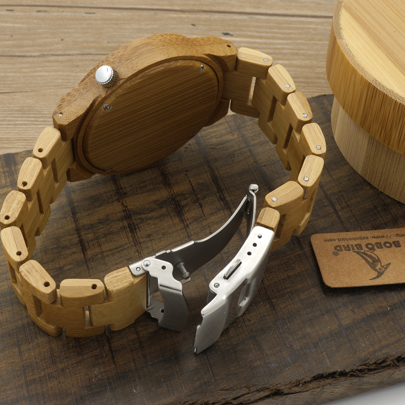 Wristwatch Ghost Eyes Wood Strap Glow Analog Watch with Bamboo Gift Box C-B22 (6)
