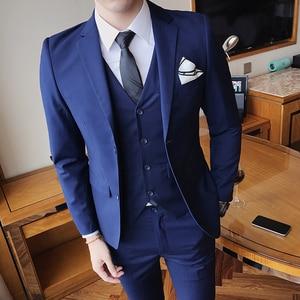 Solid Color slim fit male 3 piece suits wedding dress men Business Casual blazer Wedding Prom Dinner Suits Groomsman Wear tuxedo