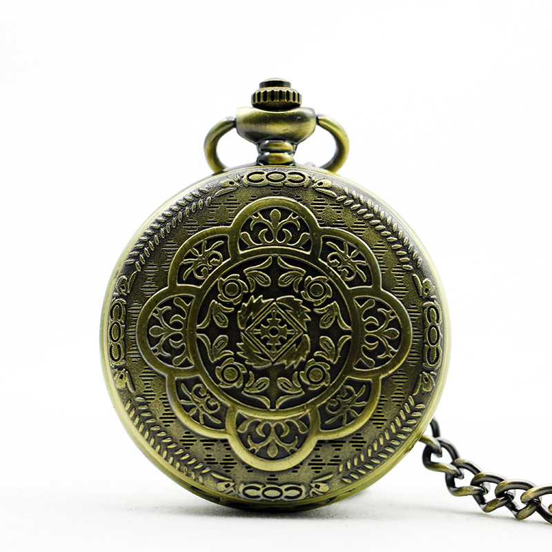 Best Vintage Luxury Flower Carving Bronze Mechanical Pocket Watches Men With FOB Chain Watches Women PJX1179