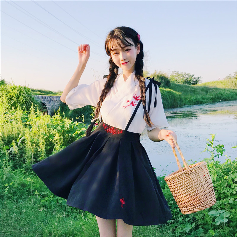 Women's Clothes Japan Kawaii Retro Embroidered Clothing Top + Strap Dress Casual Female Cute Korean Harajuku Dresses For Women