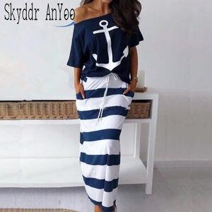 Женский комплект из двух предметов, футболка с принтом лодки и якоря, длинная Полосатая юбка с эластичным поясом, повседневный летний компл...