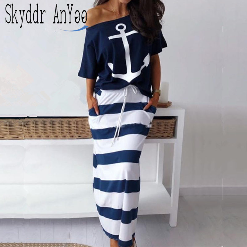 Women Two Piece Set Boat Anchor Print T-Shirt Elastic Waist Stripe Long Skirt Set Two Piece Casual Summer 2 Piece Set Streetwear