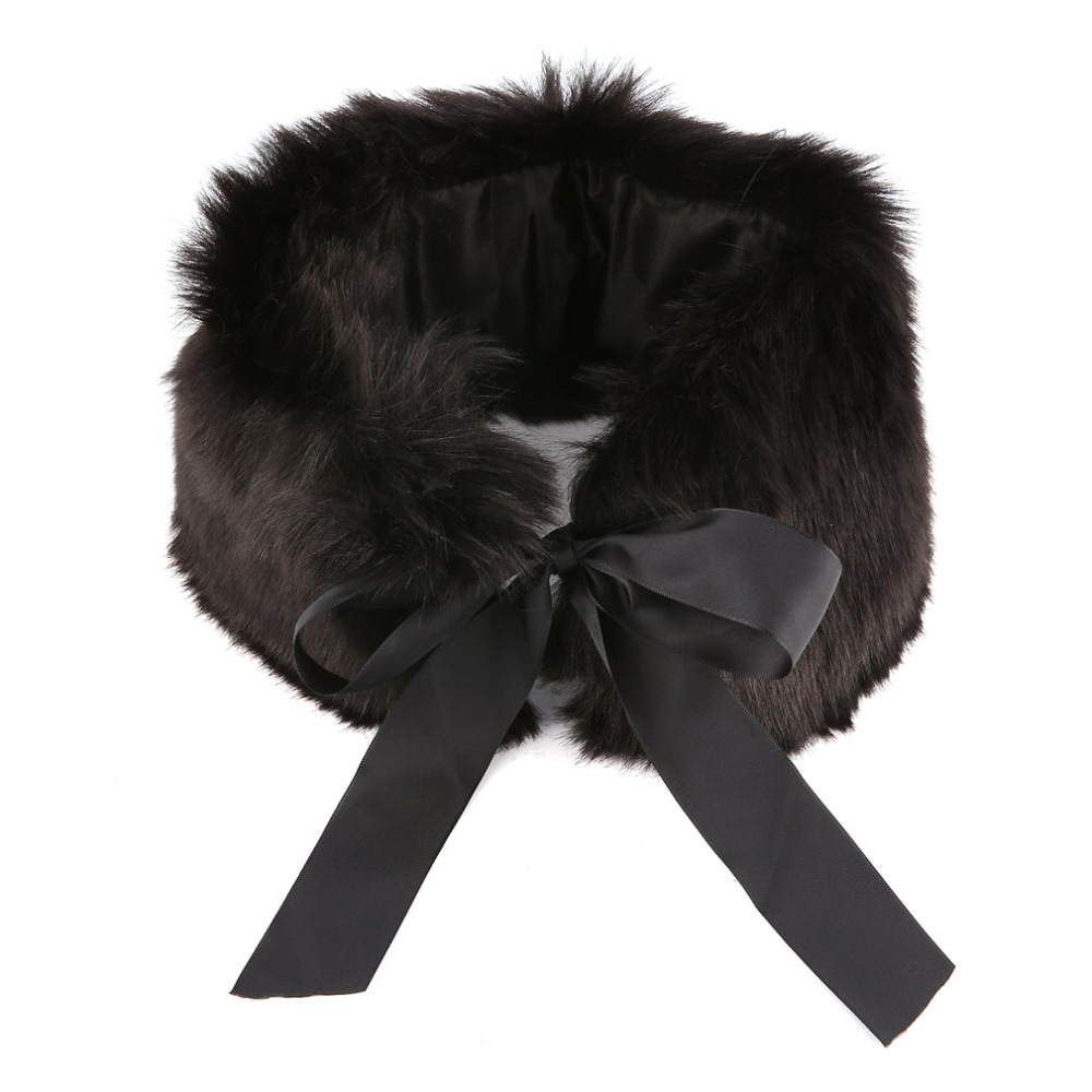 Hot Selling Faux Fur Scarf Women New Autumn Winter Warm Scarves Ladies 57x14 cm Faux Fox Fur Collar Wrap with Ribbon for Coats