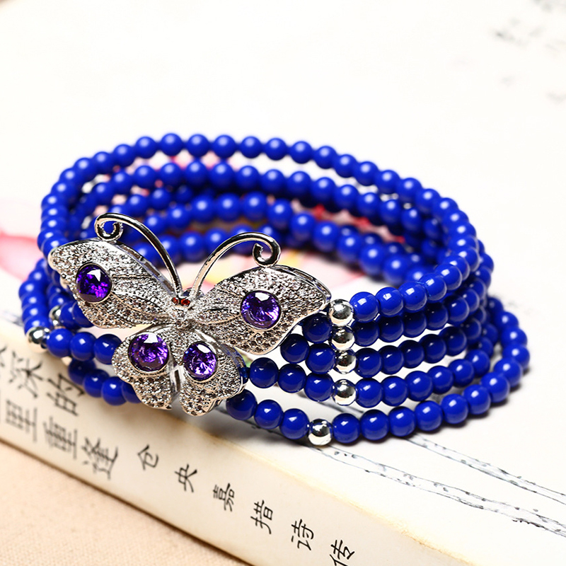 Wholesale Blue Ore Natural Stone Bracelets Buddha Bead With 925 Silver Butterfly Bracelet For Women Crystal