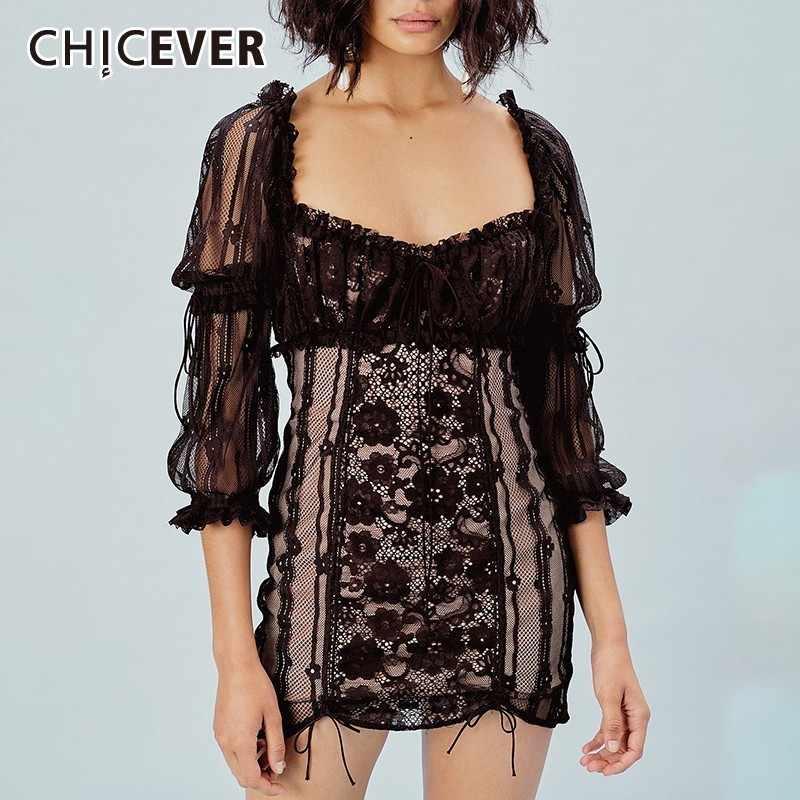 CHICEVER сексуальное кружевное лоскутное женское платье с квадратным вырезом, с высокой талией, с пышными рукавами, с вырезами, бандажи, мини платья, новинка 2019
