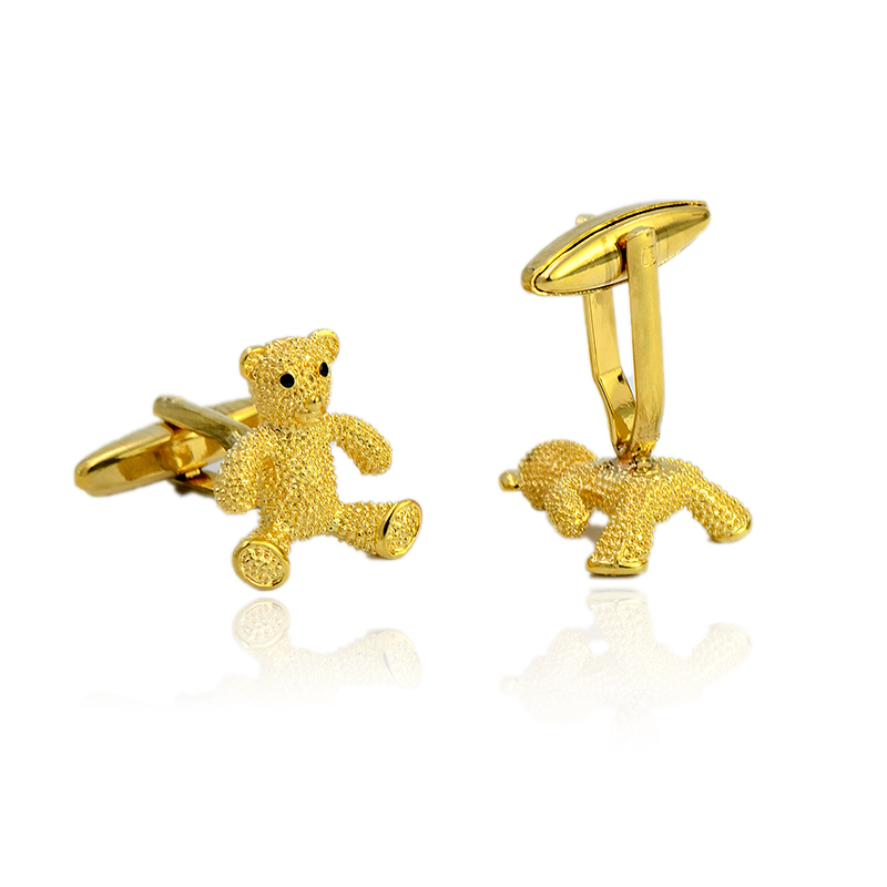 2018 New Cute Bear Pattern Cuff Links Unique Novelty Shirt Copper Cufflinks High Quality Mens Cuff Button For Wedding Wholesale in Tie Clips Cufflinks from Jewelry Accessories