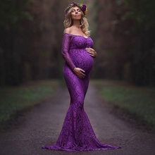 Fashion Maternity Dress for Photo Shoot Maxi Maternity Gown Shoulderless Lace Fancy Sexy Women Maternity Photography Props(China)