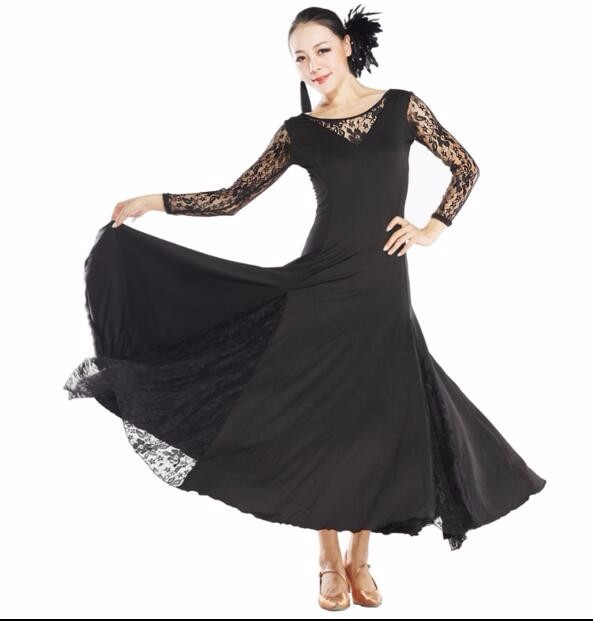 f7041c2b3343 Sexy Lace Mesh Long Sleeve Ballroom Dance Costume Clothes Women ...