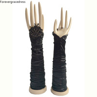 Forevergracedress Nowy Wspaniały Real Photo Czarny Biały Ivory Bridal Gloves Elbow Długość Bride Tanie Akcesoria Ślubne