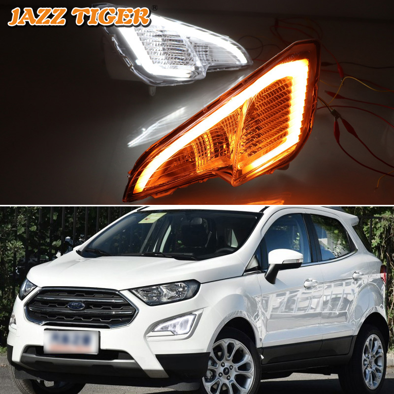 JAZZ TIGER 2PCS Yellow Turn Signal Function 12V Car DRL LED Daytime Running Light Fog Lamp For Ford Ecosport 2018 2019JAZZ TIGER 2PCS Yellow Turn Signal Function 12V Car DRL LED Daytime Running Light Fog Lamp For Ford Ecosport 2018 2019