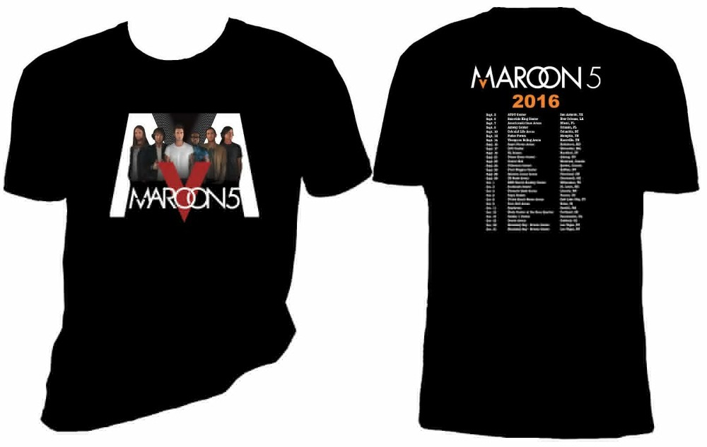 Male Battery Funny Cotton Tops Tall Men O-Neck Short-Sleeve Maroon 5 Concert Sizes S-4X T Shirt