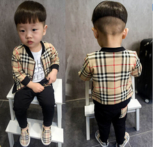 spring fashion plaid baby boys clothing sets sport boy clothes tracksuits girls clothing jacket + pants suits for boys newborn