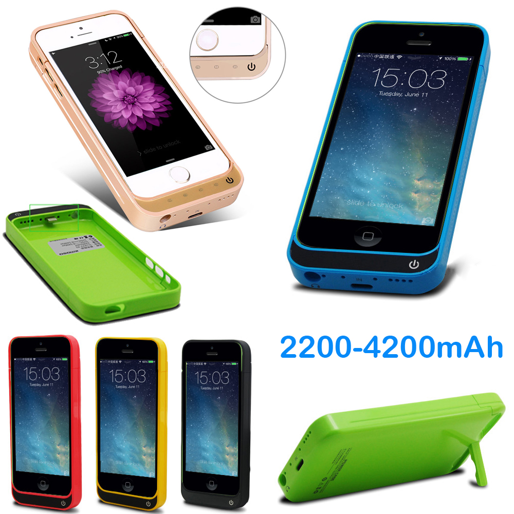 Idealforce 4200/2200mAh External Battery Backup Charger Case Pack Power Bank for iPhone 5 5s 5c SE With Glass USB Cable