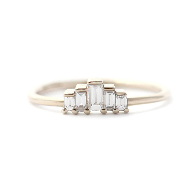 14K Yellow Gold Emerald Moissanite  Engagement Band Total 0.65ctw lab Diamond Solitaire Wedding for Women