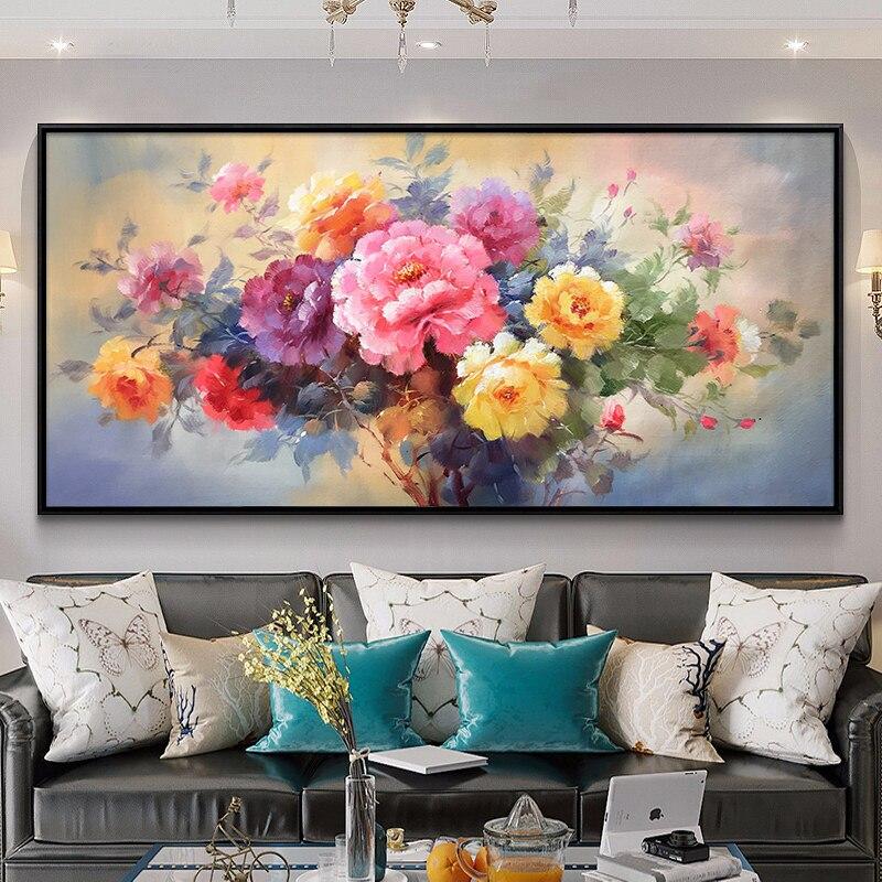 100% pintados à mão flor moderna arte pintura a óleo na lona arte da parede sem moldura imagem decoração para sala de estar decoração casa presente - 2