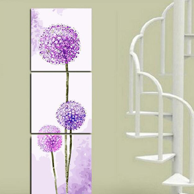 3pcs lot dandelion flowers diy painting by numbers modern for How paint on canvas