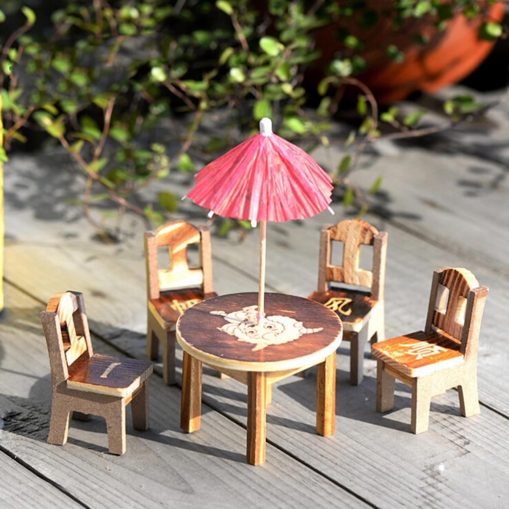 Pizies 1set Table Chair Miniature Craft Landscape Garden Decor Wooden Dollhouse Miniature Furniture Mini Dining Room Ornaments Furniture Toys