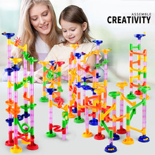 цены DIY Construction Marble Race Run Maze Balls Track Building  Blocks Children Maze Ball Roll Toy Interactive Game Kids Gift