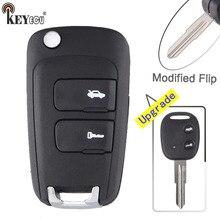KEYECU para Chevrolet Epica Aleta Modificada Dobrar Shell Remoto Chave Caso Fob 2 Botão Com Lâmina Sem Cortes