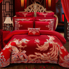 Luxury Red Wedding Style Bedding Set Gold Loong Phoenix Embroidery 100S Egyptian Cotton Duvet Cover Bed sheet/Linen Pillowcases