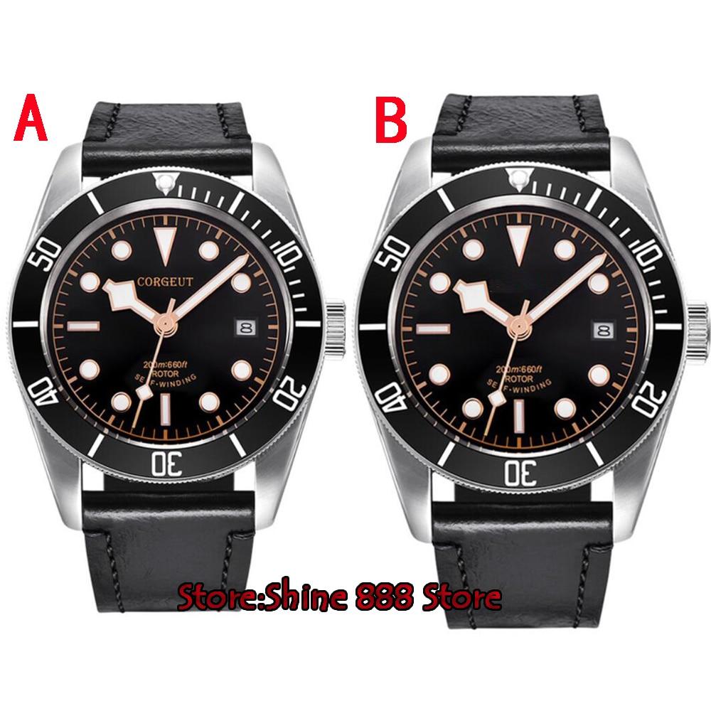 41mm corgeut dial negro cristal de zafiro 21 miyota automática de buceo reloj para hombre-in Relojes mecánicos from Relojes de pulsera    1