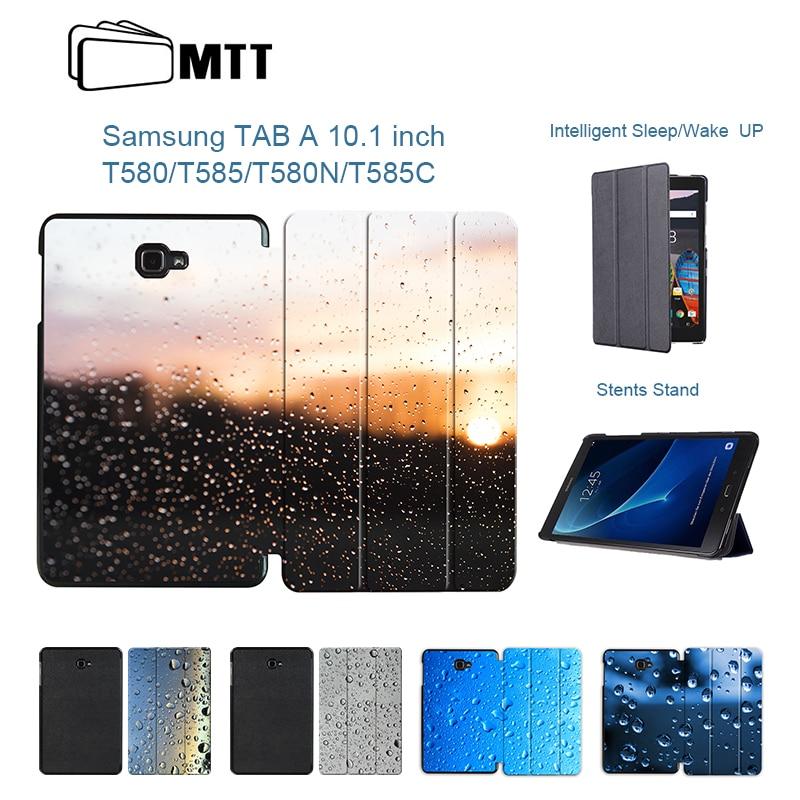 MTT For Samsung Galaxy Tab A 10.1 2016 T580 T585 Print Rainwater PU Smart Cover Case Shell for Galaxy Tab A6 10.1 SM-T580 Fundas